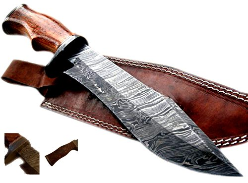 Nescole 15 inch Bowie Knife- Handmade Damascus Knife- Decorative Knives, Camping Survival Knife, and Hunting Knife with Exquisite Walnut Wooden Handle, 9.9 inch Sharp Blade with Leather Sheath