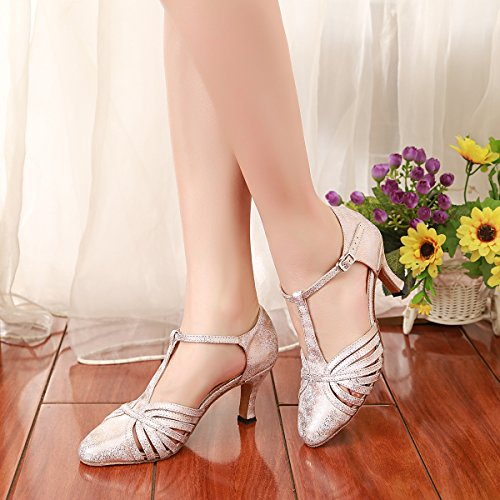 MINITOO 2 Party Dance Fashion T GL259 Pumps Shoes Synthetic Latin Pink UK Strap Ballroom Women's gP6grfnx