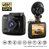 Dash Cam Car DVR Dashboard Camera Recorder with 4K FHD, Built-In WiFi & GPS, APP Support, G-Sensor, 2.4