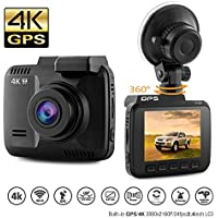 Dash Cam Car DVR Dashboard Camera Recorder with 4K FHD, Built-In WiFi & GPS, APP Support, G-Sensor, 2.4' LCD, 150 Degree Wide-Angle Lens, Loop Recording, Great Night Vision, Parking Monitor By Kidcia