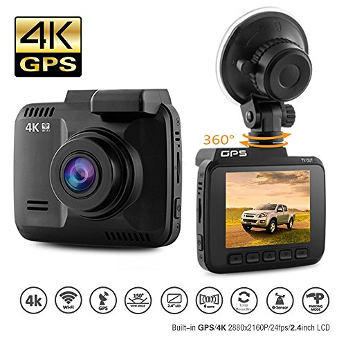 "Dash Cam Car DVR Dashboard Camera Recorder with 4K FHD, Built-in WiFi & GPS, APP Support, G-Sensor, 2.4"" LCD, 150 Degree Wide-Angle Lens, Loop Recording, Great Night Vision, Parking Monitor by Kidcia"