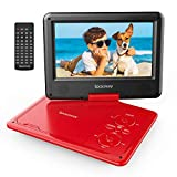 Portable DVD Player 9'' with 5 Hours Rechargeable Battery by SPACEKEY, Swivel Screen, Support USB/SD Slot and 1.8 Meter Car Charger, Support Memory and Region Free (Red)