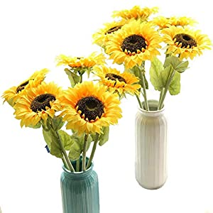 Artfen Artificial Sunflowers 6 Pcs Fake Sunflowers Preserved Flower Bouquet Bride Bridesmaid Holding Flowers Artificial Flowers for Home Hotel Office Wedding Party Garden Craft Art Decor 78