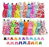 20 Pack Party Gown Outfits Dresses with 20 Pairs Doll Shoes for Barbie Doll Girl's Birthday Fashion Handmade Evening Party