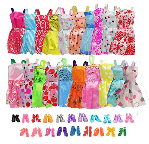 20 Pack Party Gown Outfits Dresses with 20 Pairs Doll Shoes for Barbie Doll Girl's Birthday Gift Fashion Handmade Evening Party ()