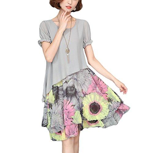 かんがいナインへホームレスKeepbin(キープビン) ワンピース 花柄 ドレス レディース シフォンワンピ チュニック 重ね着風 体型カバー ゆったり