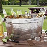 Ice Bucket Stainless Steel Party Tub | Personalized Beverage Beer Wine Cooler with Handles | Backyard BBQ Poolside Party Planter Firewood