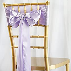 BalsaCircle 50 Lavender Satin Chair Sashes Bows Ties for Wedding Party Ceremony Reception Event Decorations Supplies Cheap