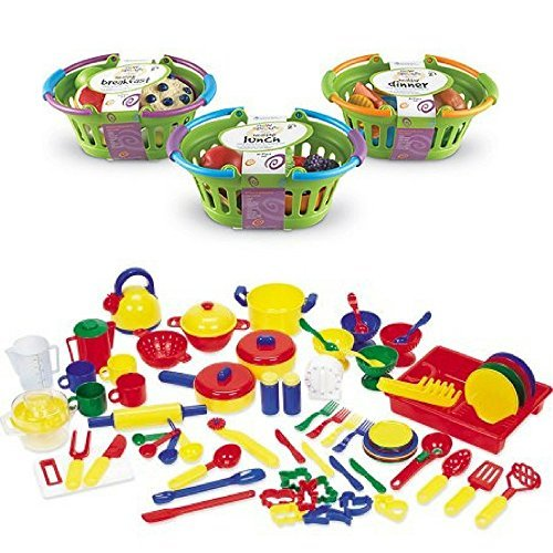 Foods Basket Play Dinner (Pretend & Play Kitchen Set, Healthy Basket Bundle, Little Chef Set, Plastic Dessert Toys, Toy Tea Party, Playfood, Breakfast, Lunch, Dinner, Set, Kids Fruits & Vegetable Toys, Kids Activity Kitchen)