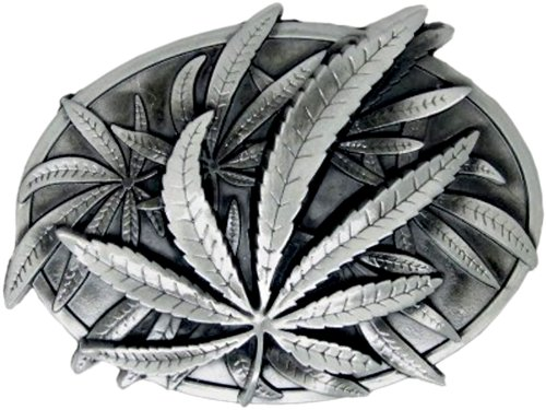 Marijuana Leaves Die Cast Pewter Finish Belt Buckle