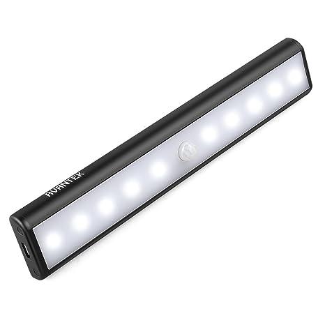 AVANTEK Barra de Luz 10 LEDs USB Recargable Sensor de Movimiento, 3 Modos Imán Incorporado