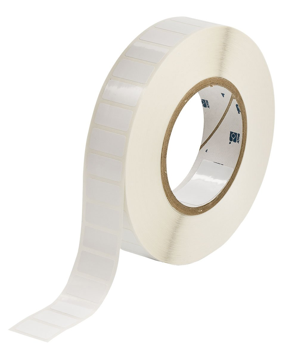 Brady THT-59-483-10 1'' Width x 0.5'' Height, 1.2'' Web Width, B-483 Ultra Aggressive Polyester, Gloss Finish White Thermal Transfer Printable Label (10000 per Roll)