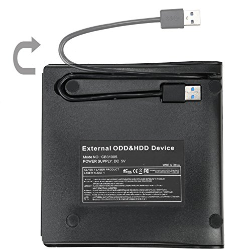 MMUSC External CD Drive,CD/DVD-RW Drive, Slim High Speed CD Player Burner for Macbook Air Pro/Air/iMac and Laptop Desktops Support Windows/Vista/7/8.1/10, Mac OSX (Black)