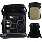 PROWELL Camera Backpack Professional DSLR SLR Bag Gadget Bag for Cameras,Lens,15''Laptop Tablet and Accessories with Rain Cover, Green Black