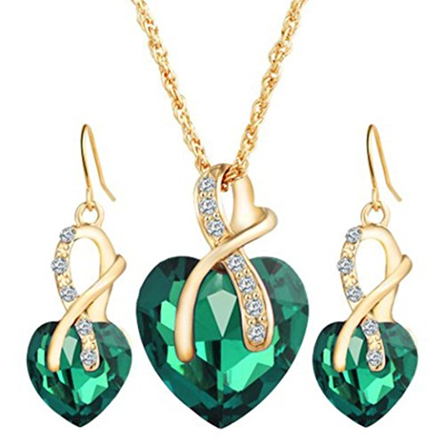 Clearance Deals Women Heart Crystal Rhinestone Silver Chain Pendant Necklace+ Earrings Jewelry Sets Romantic Gift by ZYooh (Green)