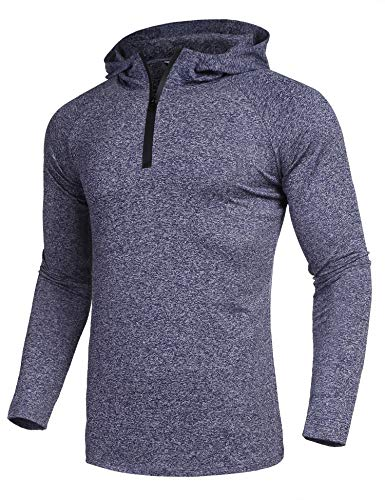 Climbing Hooded Pullover - COOFANDY Mens Quarter Zip Cycling Jersey Long Sleeve Hooded