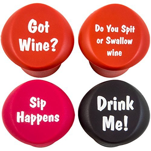 Naughty - Funny Wine Stoppers - Four Silicone Reusable Corks]()