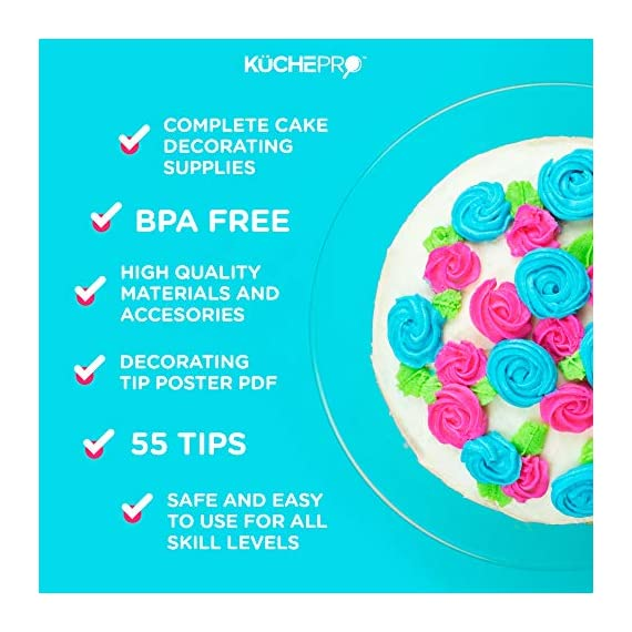 135-Piece Premium Cake Decorating Supplies Kit - Includes Cake Turntable Stand, 55 Numbered Icing Tips, 4 Piping Couplers, 1 Silicone Pastry Bag, 50 Disposable Pastry Bags & Many More Decorating Tools 6 ✔ LARGE ULTIMATE CAKE DECORATING KIT: KuchePro offers the largest cake decorating supplies set you can buy with a whopping 135 pieces. Whether you a casual weekend cake baker or a professional with your own TV show, our set has everything you will need. We want to provide you with all the essential top-quality cake decorating tools at a great value. ✔ OUR CAKE DECORATING SUPPLIES SET HAS IT ALL: Here's what you will get in our premium cake decorating kit- 1 Cake Turntable with Non-Slip Silicone Base, 55 Numbered Icing Tips, 4 Icing Bag Couplers, 1 Reusable Silicone Pastry Bag, 50 Disposable Pastry Bags, 1 Cake Leveler with Two Strings, 1 Cake Writing Pen, 1 Cake Smoother, 1 Icing Tip Cleaning Brush, 2 Cake Flower Nails, 1 Cake Flower Lifter, 3 Frosting Scrapers, 2 Cake Decorating Spatulas, 12 Silicone Pastry Bag Ties. ✔ SAFE, HIGH-QUALITY MATERIALS: The KuchePro 135-Piece Cake Decorating Supplies Kit are made from 100% food grade quality materials that are built to last so you can create beautiful looking cakes for years and years. BPA free silicone tools, non-toxic plastics, and all cake decorating tools and accessories are dishwasher safe.