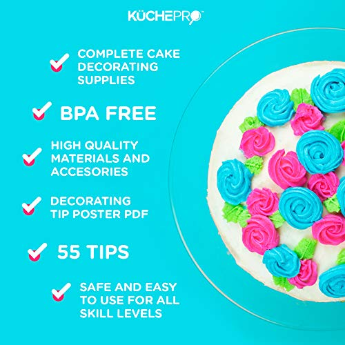 KüchePro 135-Piece Premium Cake Decorating Supplies Kit - Cake Turntable Stand, 55 Numbered Icing Tips, 4 Piping Couplers, 1 Silicone Pastry Bag, 50 Disposable Pastry Bags & Many More Decorating Tools