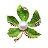 JYX Beautiful Maple-leaf 11.5mm Natural Freshwater Pearl Brooch