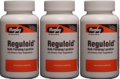 Reguloid Psyllium Husk Natural Vegetable Bulk Forming Laxative Fiber Supplement Capsules Therapy for Regularity Generic for Metamucil 160 Capsules per Bottle Total 480 Caps. by RUGBY LABORATORIES