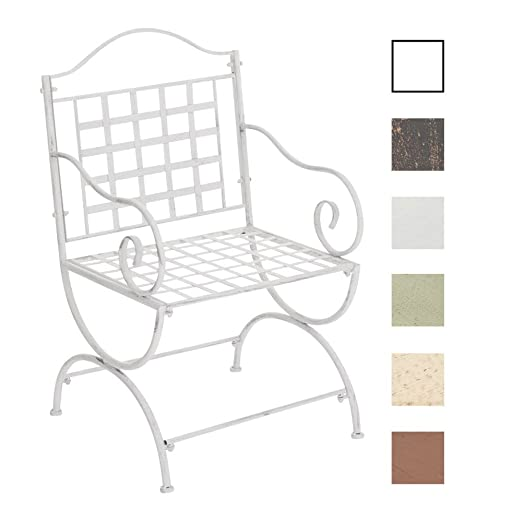 CLP Silla de Exterior Lotta en Hierro Forjado I Silla de Jardín con Reposabrazos I Silla de Terraza Estilo Rústico I Color: Blanco Envejecido
