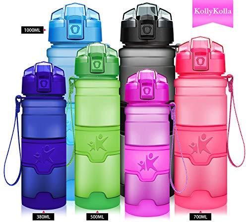 (KollyKolla Water Bottle BPA Free Tritan, Opens with 1-Click Flip Top Leak-Proof Lid, Kids Drinks Bottle, Reusable Water Bottles with Filter, for Sports, Outdoors, Gym, Yoga, (380ml Matte Purple))