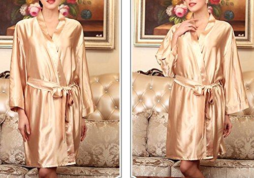 Affascinante Raso Champagne Vestiti Loungewear Normale Media Chiffon Accappatoio Pigiami Kimono Notte Seta Vestaglia Donne Tienew Abiti Taglia Elegante Colore UBEqEYw