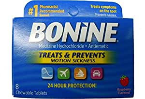 Bonine Motion Sickness Protection, Chewable Tablets, Raspberry 8 ea
