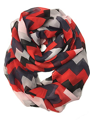 - YOUR SMILE - Premium Soft Chevron Chiffon Infinity Loop Circle Scarf (Black/Red)