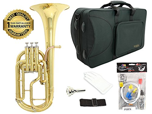 D'Luca 860L3 860 Series Brass Eb Alto Horn with Rose Brass Lead Pipe, Professional Case, Cleaning Kit, Gold by D'Luca