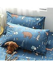Wellboo Bear Pillowcases Blue Cute Animal Pillow Shams Cotton Kids Boys Girls Cartoon Pillowacase Forest Plants Rabbit Fox Children Pillow Cases Soft Health Breathable Envelope Closure Pack of 2