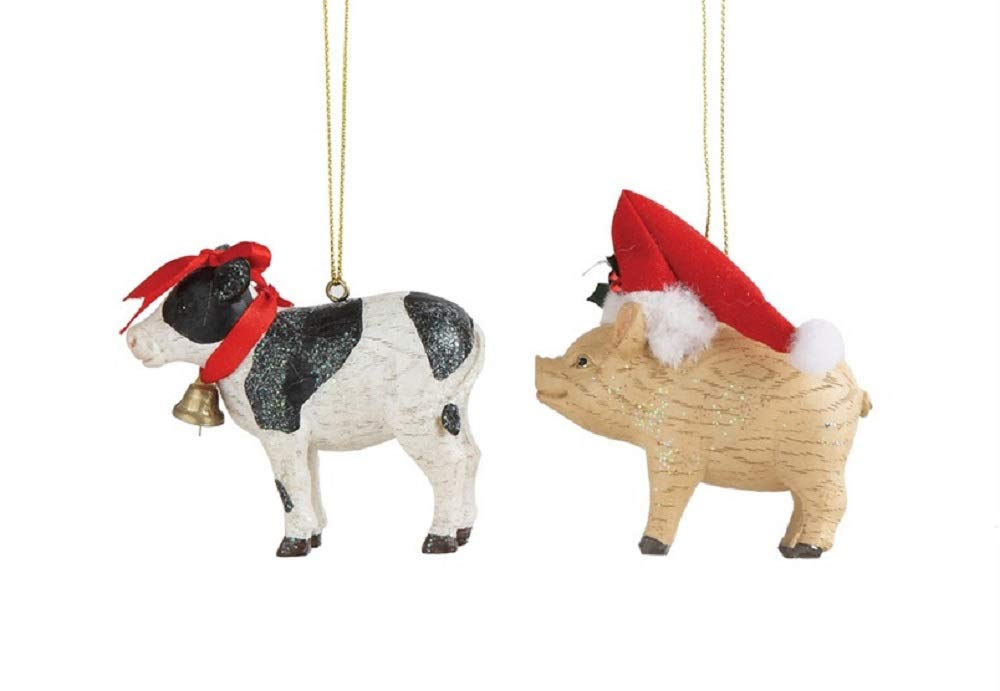 Farmhouse Christmas Cow & Pig Hanging Ornaments - Set of 2