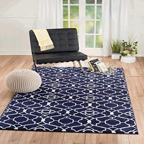 New Summit Elite S 67 Navy Blue White Trellis Garden Modern Abstract Area Rug 22 inch x 7 Foot Long Runner