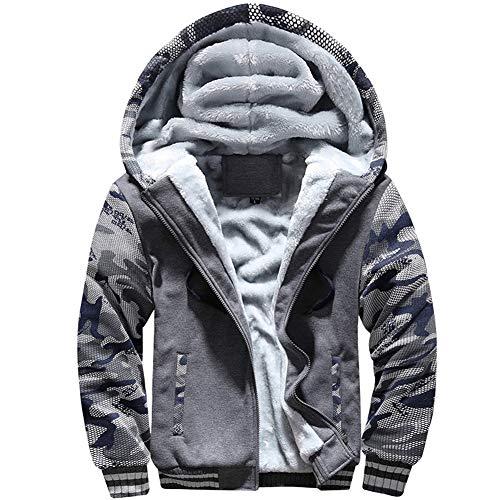 12f41d3931e MANLUODANNI Men s Casual Hooed Hoodies Thick Wool Warm Winter Jacket Coats  Dark Gray M