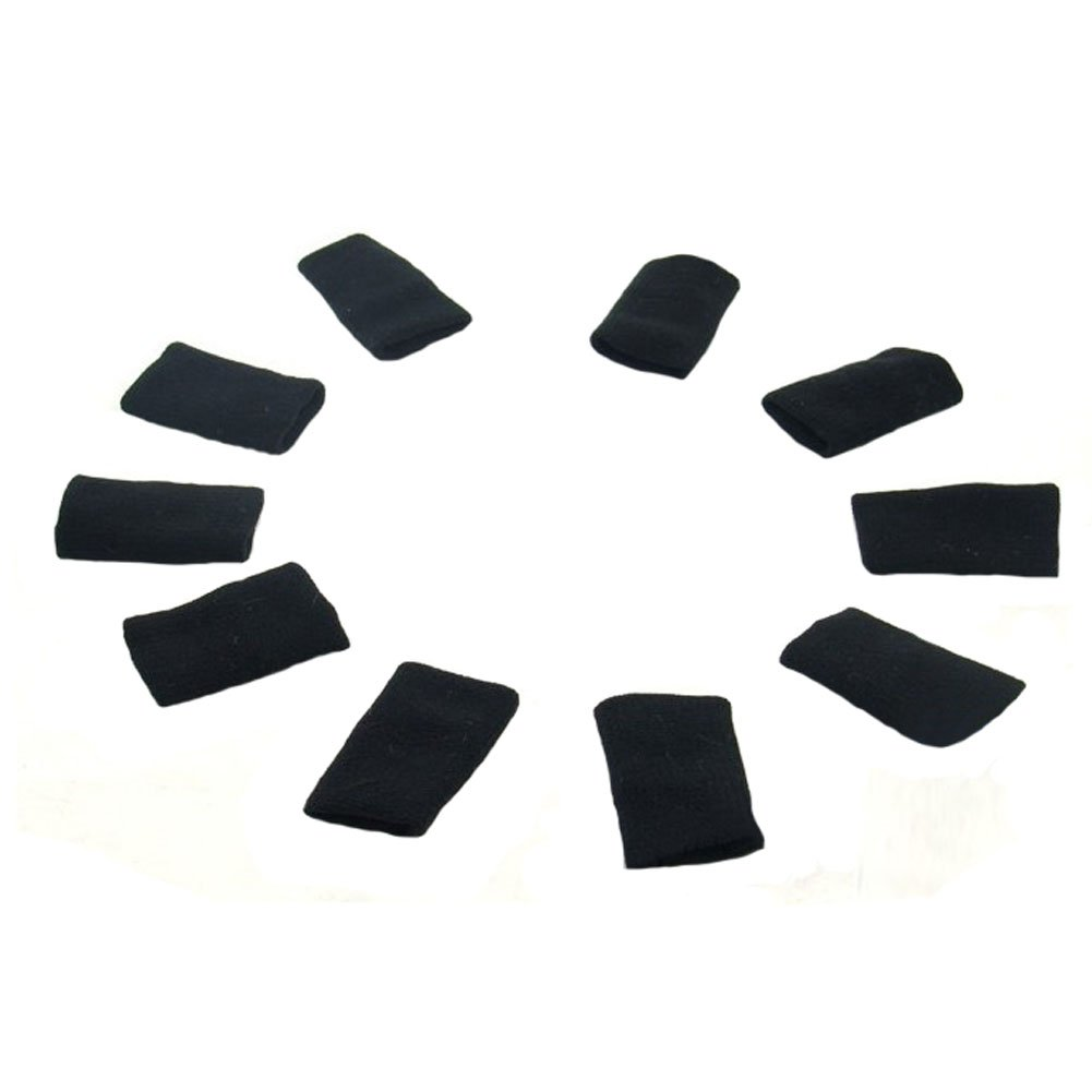 10PCS Sports Elastic Finger Sleeve Protector Brace Support - Black Blancho Bedding