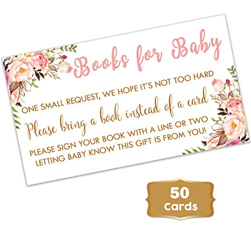 Boho Floral - Baby Shower Floral Books for Baby Request Cards (50 Count) | Girl Baby Shower Books for Baby Pink Flowers | Books for Baby Shower | Fun Baby Shower Activities