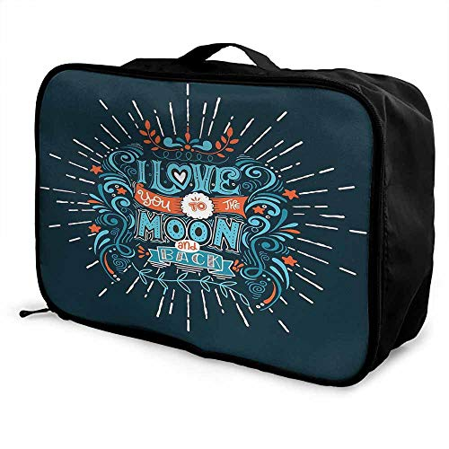 I Love You Luggage trolley bag Ethnic Stylized Valentines Swirls Floral Bloom Branches Attraction Friends Waterproof Fashion Lightweight Blue Red White