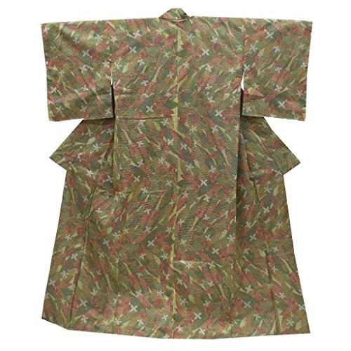 (着物ひととき) リサイクル 紬 中古 正絹 つむぎ 花文様 裄67cm 緑系 裄Lサイズ 身丈Lサイズ ll1735a10