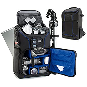 Digital SLR Camera Backpack (Blue) w/Padded Custom Dividers , Tripod Holder , Laptop Compartment , Rain Cover and Accessory Storage by USA Gear for DSLR Cameras by Nikon , Canon , Sony , Pentax & More