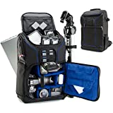 Digital SLR Camera Backpack with 15.6 Laptop Compartment (Blue) by USA Gear features Padded Custom Dividers , Tripod Holder , Rain Cover and Storage for DSLR Cameras by Nikon , Canon , Sony & More
