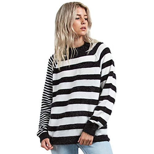 Volcom Junior's Need Space Wide Neck Crew Striped Sweater, Black, Extra Small