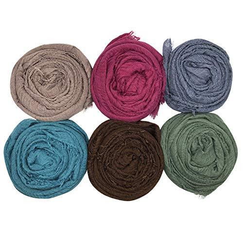 MANSHU 6PCS Women Soft Cotton Hemp Scarf Shawl Long Scarves, Scarf and Wrap, Big Head Scarves (For Scarf Hijab)