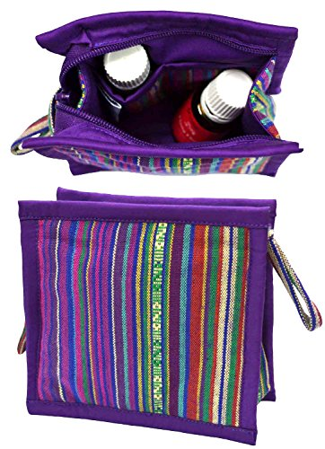 Small Essential Oils Storage Bag | Holds 6: 5mL -15mL - 10mL Oils | Zipper Pouch for doTERRA & Young Living Bottles | Roller Bottle Case for Purse | Little Essential Oil Container for Travel (Purple)