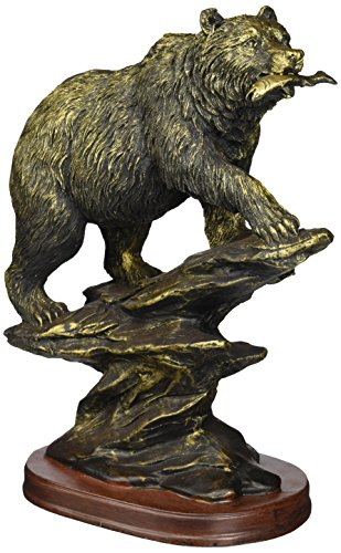 StealStreet SS-UG-PY-4752 Bronzed Paint Bear Hunting Collectible Decoration Figurine Statue ()
