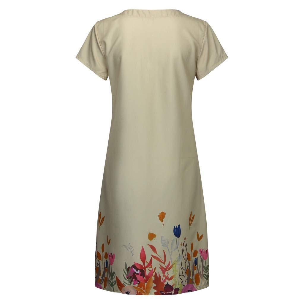 2019 Summer Women Casual Floral Print Dresses,V-Neck Short Sleeve T-Shirt Loose Beach Dresses S-3XL (Khaki, XXL) by Tanlo (Image #5)