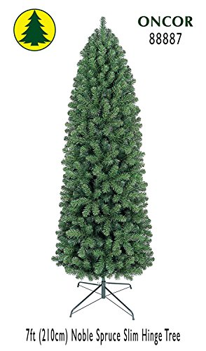 7ft Eco-Friendly Oncor Slim Noble Spruce Christmas Tree (Christmas Slim Unlit Artificial Trees)