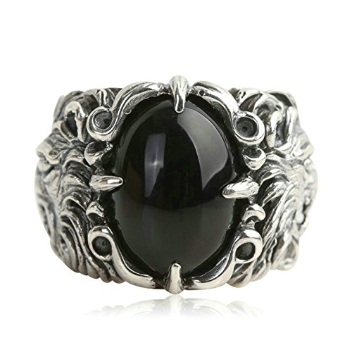 Beydodo Mens Silver Ring, Black Onyx Lion Ring Size 10 Silver Ring for Men Hip Hop by Beydodo