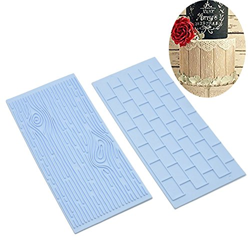Anyana Tree Bark and Brick Wall cake plastic Embossing Mat Texture fondant impression lace mat decorating mold gum paste cupcake topper tool icing candy imprint baking moulds sugarcraft set of 2 (Tree Lace)