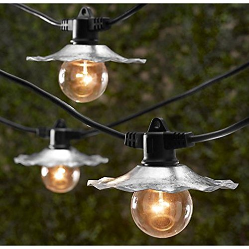 (String Light Company Café 35-Ft Outdoor Commercial String Lights with 7 Sockets and Galvanized Shades, 14 Gauge Black Cord)